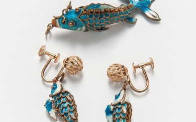 Gold-plated and Enamel Articulated Fish Pendant and Earclips