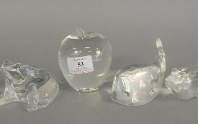 Group of 6 Steuben glass pieces to include 2 frogs