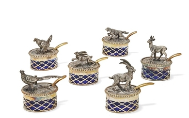 Group of twelve small silver salt-cellars Italy, 20th Century