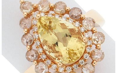 Heliodor, Diamond, Gold Ring, March The ring centers a...