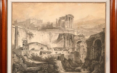 Italian school of the XVIII th century, View of the bridge and the temple of Tivoli, pen and watercolour drawing. Inscriptions on the top left and right. About 50 x 60 cm