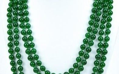Impressive 104 Inch Green Nephrite Jade Necklace