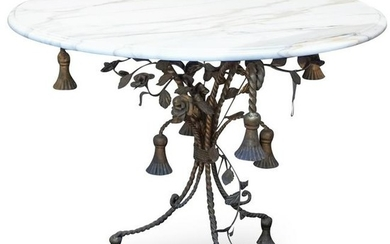 Italian Marble and Cast Iron Table