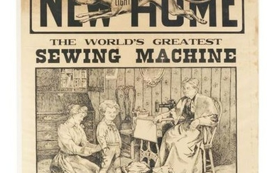 LARGE NEW HOME SEWING MACHINE ADVERTISING POSTER.