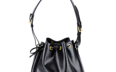 LOUIS VUITTON - a black Epi Petite Noé PM bucket handbag.