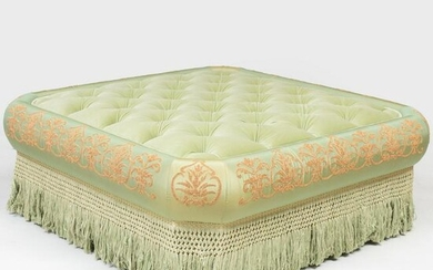 Large Button Tufted Velvet and Embriodered Silk Ottoman