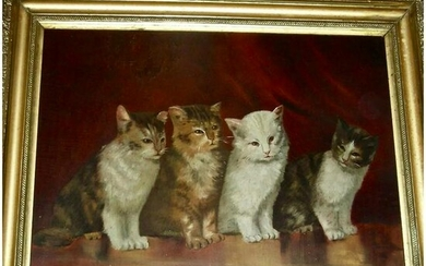 Late 19th C. Painting of 4 Cats, O/B
