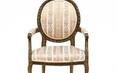 Louis XV Style Carved and Upholstered Fauteuil