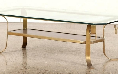 MID CENTURY MODERN BRONZE GLASS TOP COFFEE TABLE