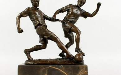MILO A bronze of two men playing football. Signed, on