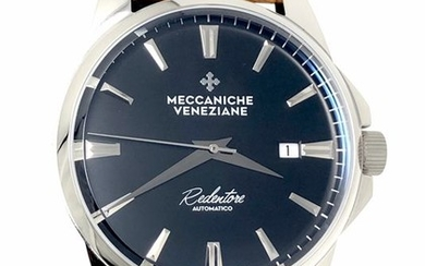 Meccaniche Veneziane - Automatic Redentore Black Ardesia with Italian Handmade Leather Strap - 1201002 - Men - BRAND NEW