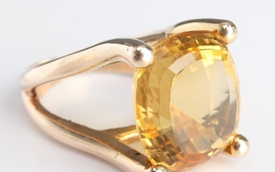 Mid-Century Modern 14K Yellow Gold & Citrine Ring