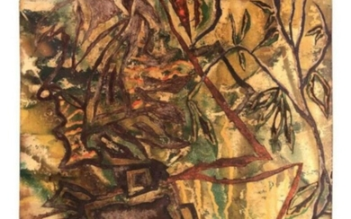 Mid-Century Modern Abstract Painted Panel Mid-20th