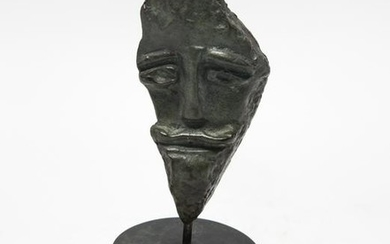 Modern Abstract Bronze Head Sculpture