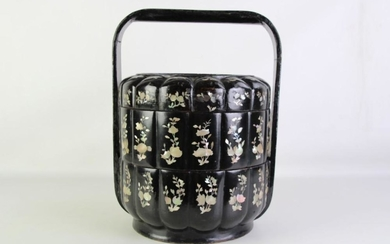Mother of Pearl Inlaid food carrier (H42cm Dia30cm)