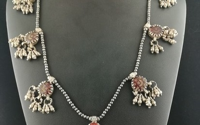 Necklace (1) - Glass beads, Silver +800 - Rajasthan, India
