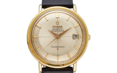 OMEGA, GOLD-CAPPED TWO-TONE PIE-PAN DIAL CONSTELLATION WRISTWATCH, REF. CD 168.004, MOVEMENT NO. 24'438'740