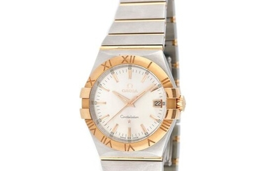Omega Constellation bracelet watch, rose gold and steel, unisex, provenance documents, stainless steel; rose gold 18 k, d=35 mm / Unisex rose gold Omega Constellation wristwatch, reference 123.20.35.60.02.001, quartz movement. Silver dial with date at...
