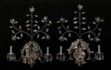 PAIR OF BAGUES-STYLE CRYSTAL & FOLIATE SCONCES