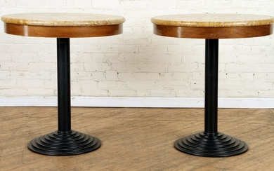 PAIR OF IRON AND MARBLE TOP END TABLES C.1950