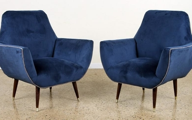 PAIR REUPHOLSTERED MID CENTURY MODERN CLUB CHAIRS