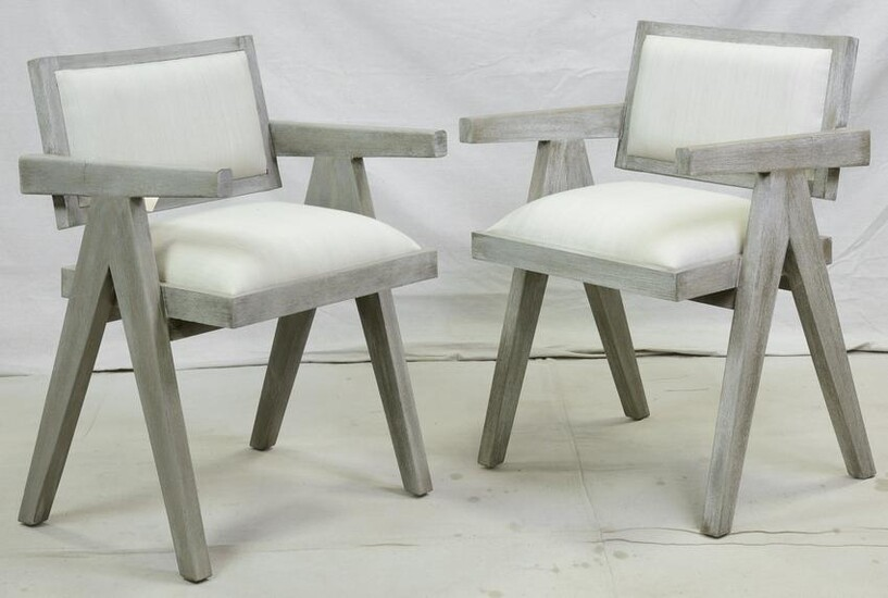 Pair Pierre Jeanneret / Mid Century Style Chairs