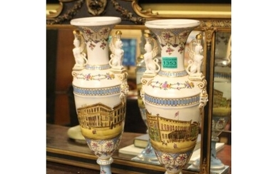 Pair of Decorative Porcelain Vases with Architectural scenes...