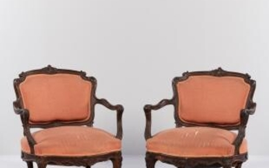 Pair of Louis XV-style Carved Walnut Fauteuils