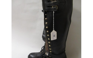 Pair of ladies Chanel black leather lace-up tall combat boot...