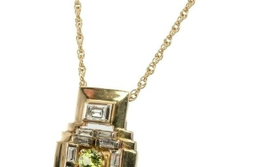 Peridot Diamond Pendant Necklace 14K Yellow Gold Chain