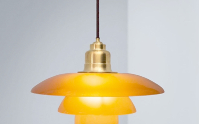 Poul Henningsen / Louis Poulsen. PH 3½-3 amber coloured pendant. Number certificate