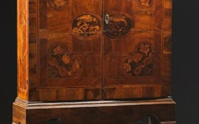 Queen Anne Marquetry Inlaid Walnut Cabinet on Stand