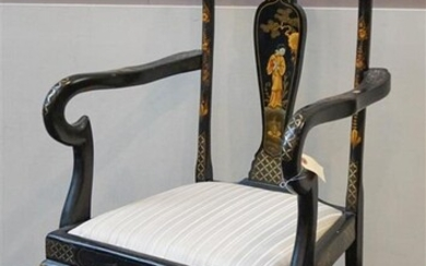 Queen Anne Style Chinoiserie Decorated Open Armchair