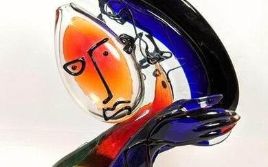 RENZO ANDREON 95 Art Glass Sculpture. Colorful Blown G