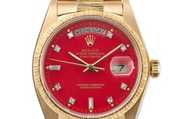 ROLEX, GOLD AND DIAMONDS DAY-DATE WITH RED STELLA DIAL, REF. 18078, CASE NO. 5'867'585