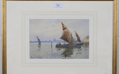 Reginald Jones - Venetian View with Moored Sailing Vessels, watercolour, signed, 17cm x 26cm, within