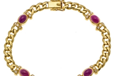 Ruby-diamond bracelet GG 750/000 with 4 oval ruby...