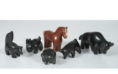 Santa Clara Redware and Blackware Animal Figures