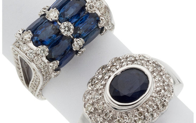 Sapphire, Diamond, White Gold Rings The lot includes a...