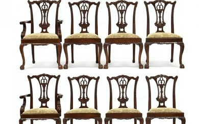 Set of Eight Chippendale Style Carved Mahogany Dining
