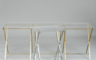 Set of Three Modern Brass-Mounted Lucite Tray Tables