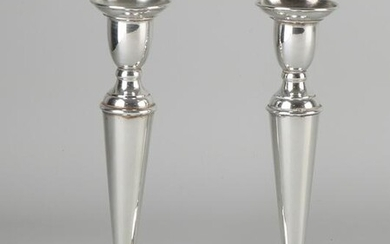 Set silver candlesticks, 925/000, on a round base