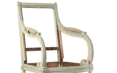 Shepherdess with a square back in white lacquered wood, the armrests in moulded scrolls and rosettes, tapered fluted feet.