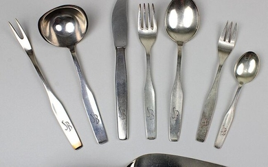 Silver tableware, WMF, German, 2nd half of the 20th century, 57 pieces, complete for 9 persons, consisting of: 11 spoons, 12 forks, 9 knives, 11 coffee spoons, 11 cake forks, serving fork, sauce spoon and a slightly different cake server in the model...