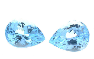 Six pear-shape blue topaz, total weight 26.31cts.