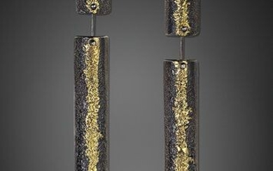 Stella Deligianni 925 oxidized silver - 18K yellow gold - Earrings