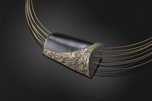 Stella Deligianni 925 oxidized silver -18K yellow gold- stainless steel-goldplated stainless steel - Necklace with pendant