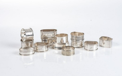 THIRTEEN SILVER NAPKIN RINGS, VARIOUS MAKERS AND DATES