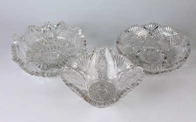 THREE AMERICAN BRILLIANT PERIOD CUT COLORLESS CRYSTAL BOWLS. late 19th-early...
