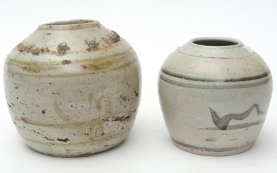 TWO 18TH CENTURY CHINESE POTTERY GINGER JARS